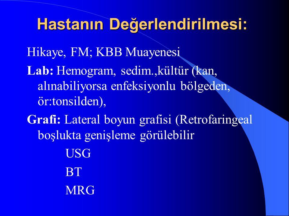 Hastanın Değerlendirilmesi: Hikaye, FM; KBB Muayenesi Lab: Hemogram, sedim.,kültür (kan, alınabiliyorsa enfeksiyonlu bölgeden, ör:tonsilden), Grafi: L