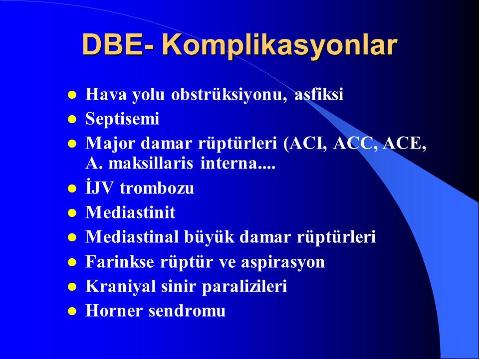 DBE- Komplikasyonlar l Hava yolu obstrüksiyonu, asfiksi l Septisemi l Major damar rüptürleri (ACI, ACC, ACE, A. maksillaris interna.... l İJV trombozu