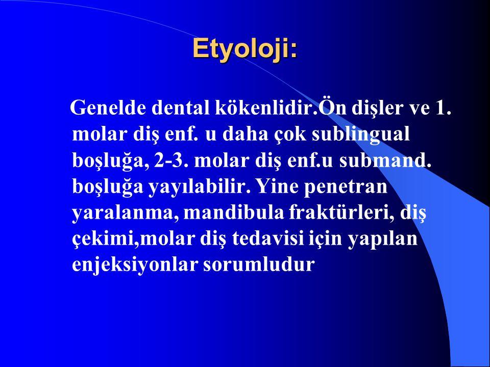 Etyoloji: Genelde dental kökenlidir.Ön dişler ve 1. molar diş enf. u daha çok sublingual boşluğa, 2-3. molar diş enf.u submand. boşluğa yayılabilir. Y