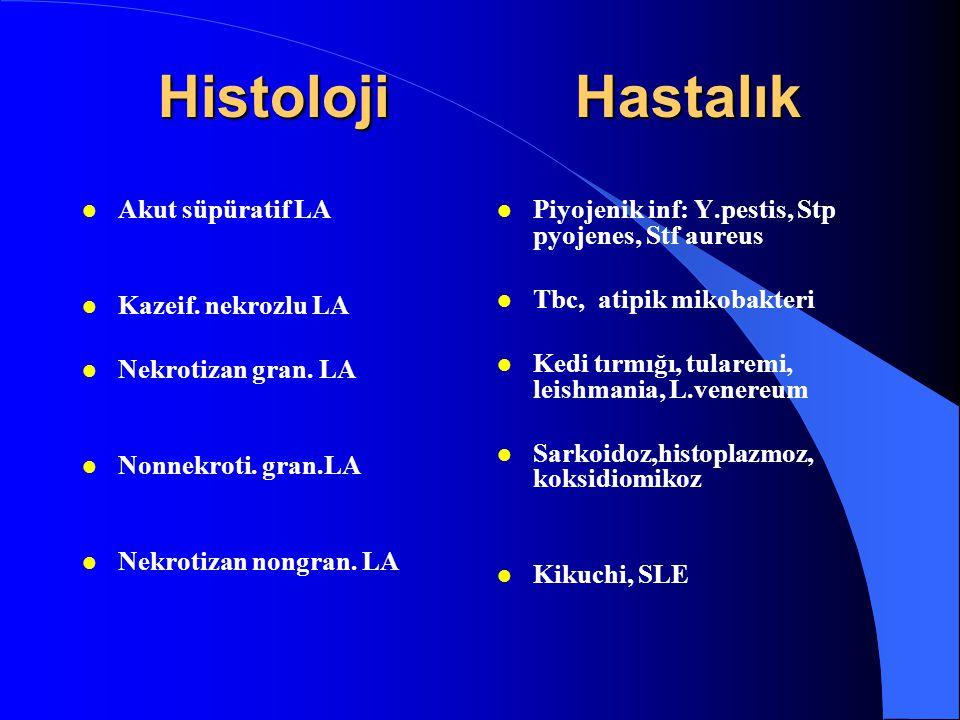 Histoloji Hastalık l Akut süpüratif LA l Kazeif. nekrozlu LA l Nekrotizan gran. LA l Nonnekroti. gran.LA l Nekrotizan nongran. LA l Piyojenik inf: Y.p