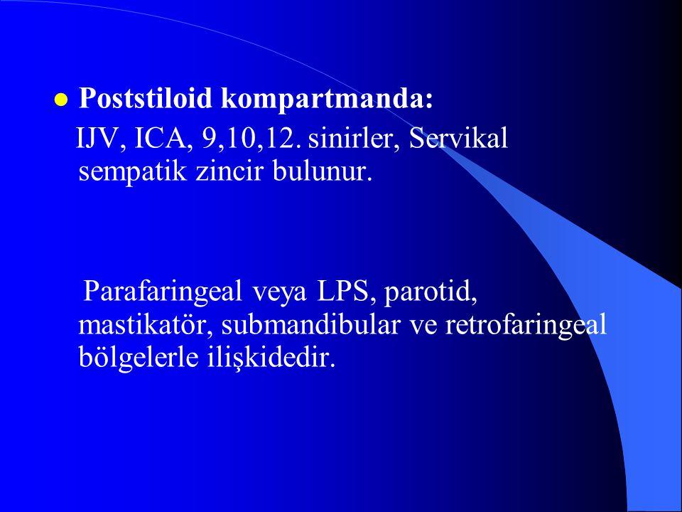 l Poststiloid kompartmanda: IJV, ICA, 9,10,12. sinirler, Servikal sempatik zincir bulunur. Parafaringeal veya LPS, parotid, mastikatör, submandibular