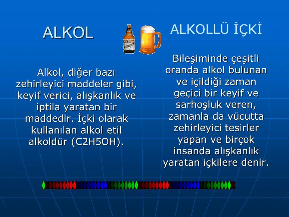 ALKOL Alkol, diğer bazı zehirleyici maddeler gibi, keyif verici, alışkanlık ve iptila yaratan bir maddedir. İçki olarak kullanılan alkol etil alkoldür