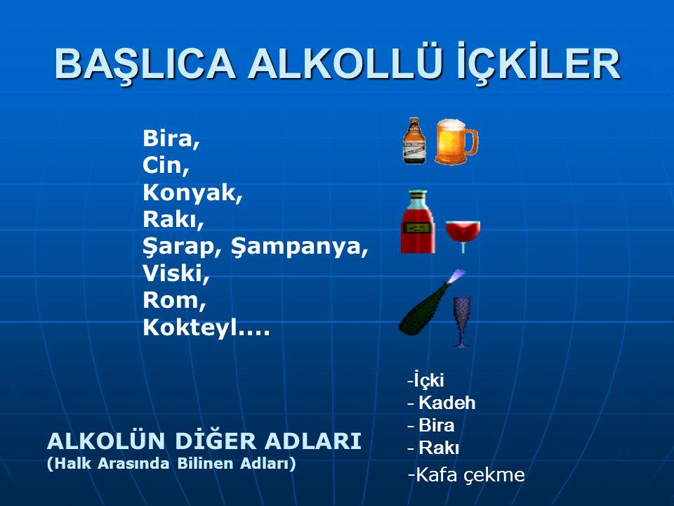 BAŞLICA ALKOLLÜ İÇKİLER Bira, Cin, Konyak, Rakı, Şarap, Şampanya, Viski, Rom, Kokteyl.... ALKOLÜN DİĞER ADLARI (Halk Arasında Bilinen Adları) -İçki -