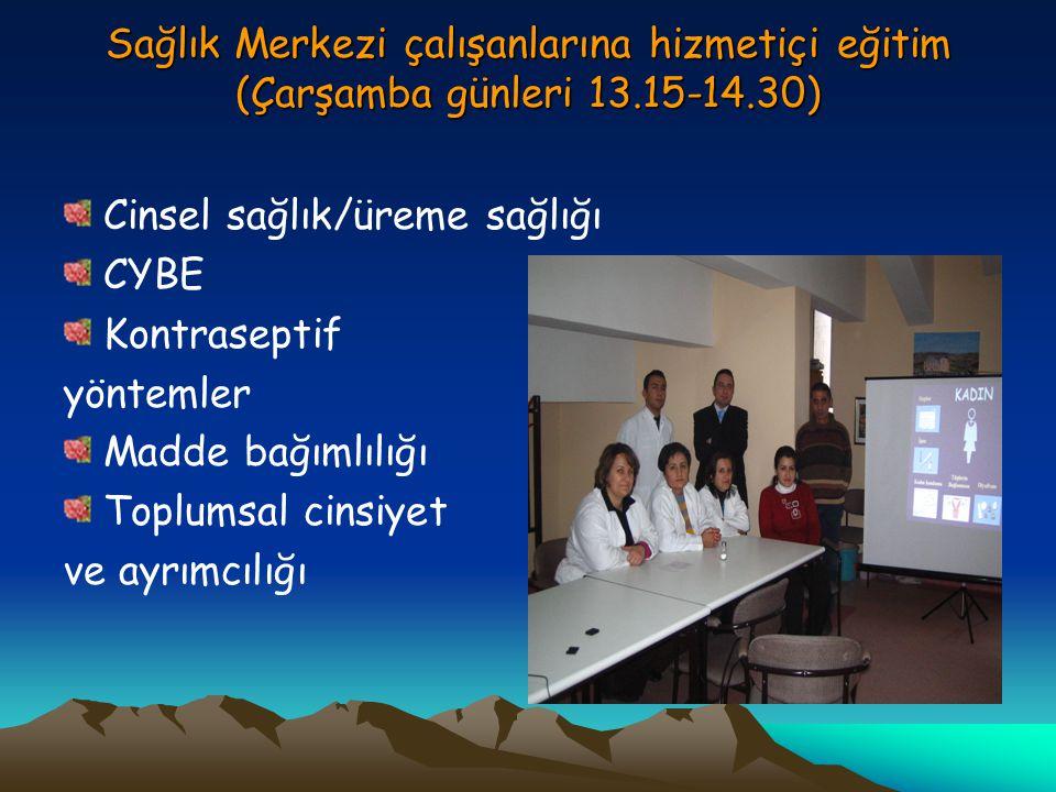 Sağlık Merkezi çalışanlarına hizmetiçi eğitim (Çarşamba günleri 13.15-14.30) Cinsel sağlık/üreme sağlığı CYBE Kontraseptif yöntemler Madde bağımlılığı Toplumsal cinsiyet ve ayrımcılığı
