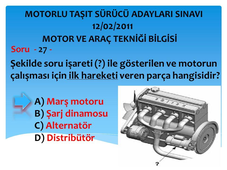 İBRAHİM YALÇIN Şekilde soru işareti (?) ile gösterilen ve motorun çalışması için ilk hareketi veren parça hangisidir? Soru - 27 - A) Marş motoru B) Şa