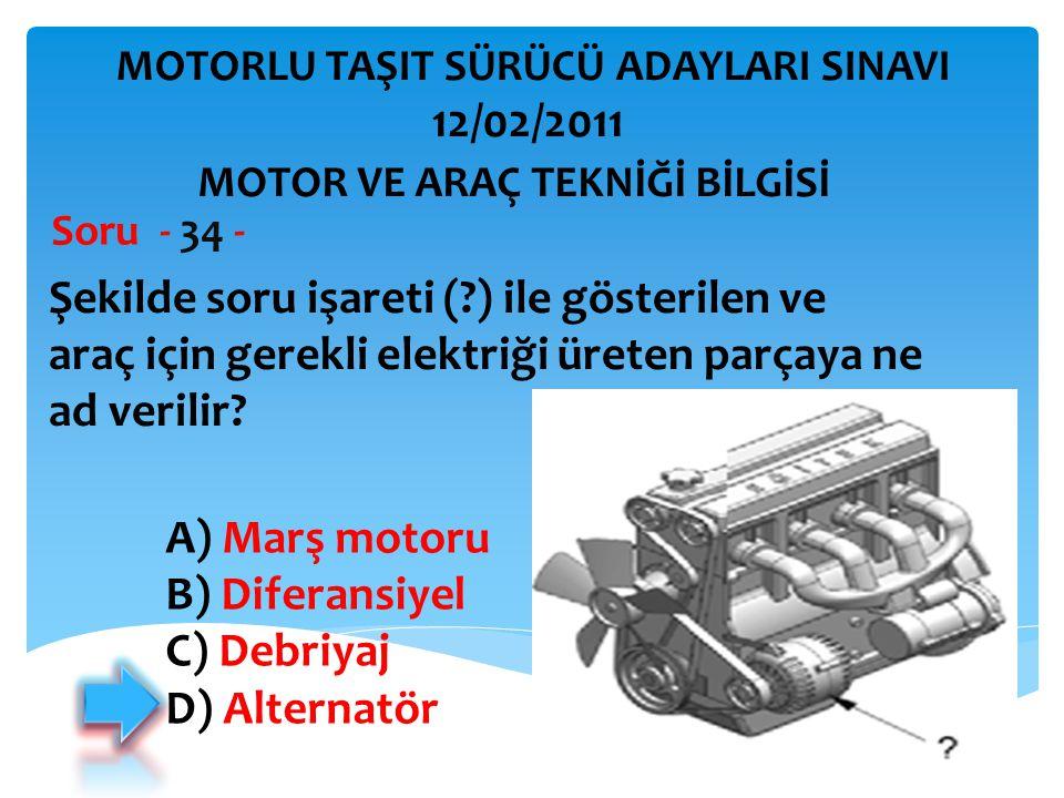 İBRAHİM YALÇIN Şekilde soru işareti (?) ile gösterilen ve araç için gerekli elektriği üreten parçaya ne ad verilir? Soru - 34 - A) Marş motoru B) Dife