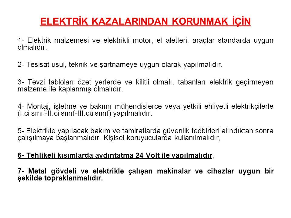 ELEKTRİK KAZALARINDAN KORUNMAK İÇİN 1- Elektrik malzemesi ve elektrikli motor, el aletleri, araçlar standarda uygun olmalıdır. 2- Tesisat usul, teknik