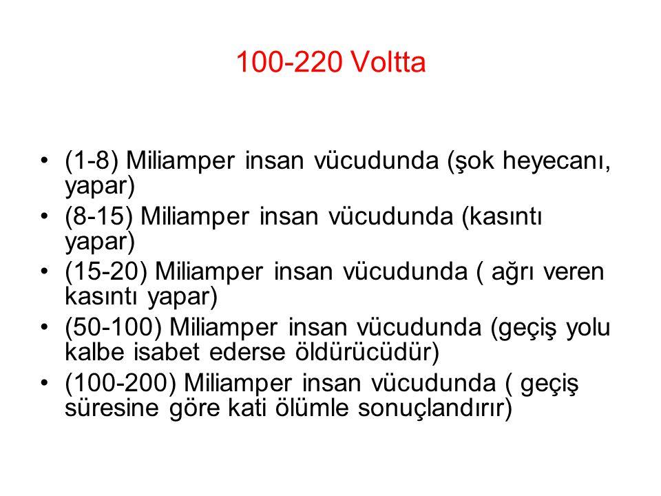 100-220 Voltta (1-8) Miliamper insan vücudunda (şok heyecanı, yapar) (8-15) Miliamper insan vücudunda (kasıntı yapar) (15-20) Miliamper insan vücudund