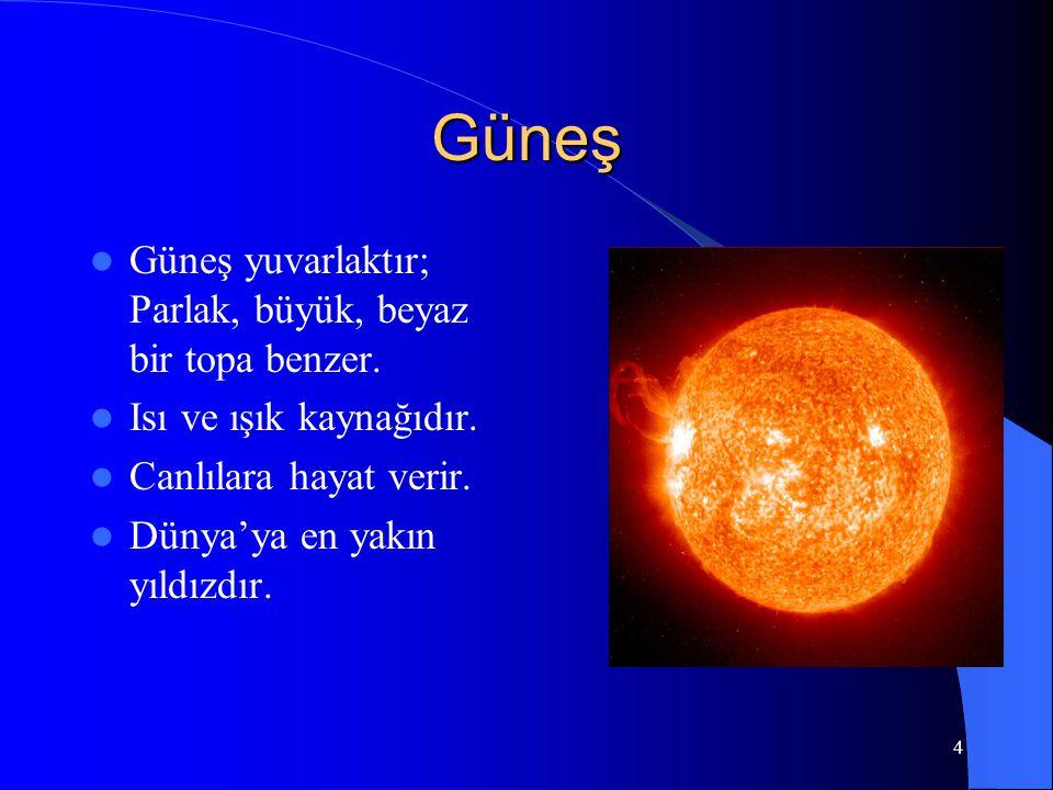 3 Bulutsuz gecelerde gökyüzüne baktığımızda Ay ve yıldızları görürüz, Ay'ın şekli yuvarlaktır. Ay ve Güneş'in şekli birbirine benzer. Ay'ın şekli her