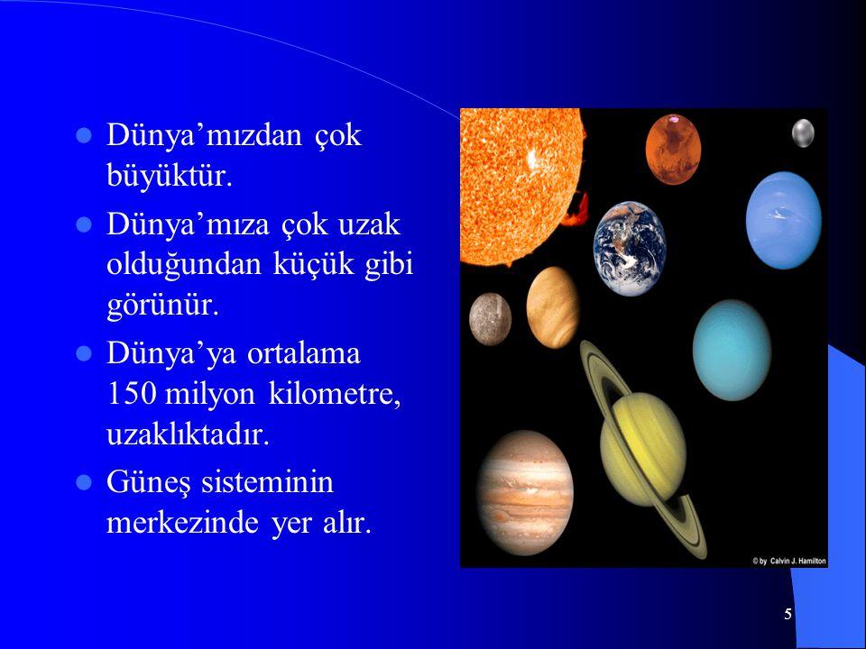 4 Güneş Güneş yuvarlaktır; Parlak, büyük, beyaz bir topa benzer. Isı ve ışık kaynağıdır. Canlılara hayat verir. Dünya'ya en yakın yıldızdır.
