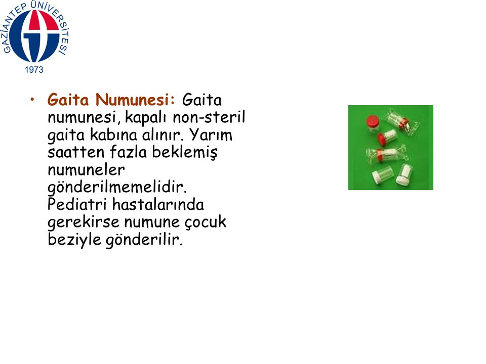 Gaita Numunesi: Gaita numunesi, kapalı non-steril gaita kabına alınır.