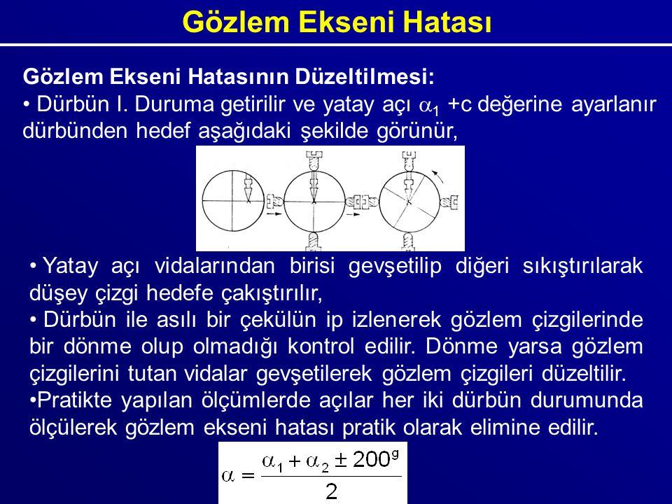 Gözlem Ekseni Hatasının Düzeltilmesi: Dürbün I. Duruma getirilir ve yatay açı  1 +c değerine ayarlanır dürbünden hedef aşağıdaki şekilde görünür, Yat