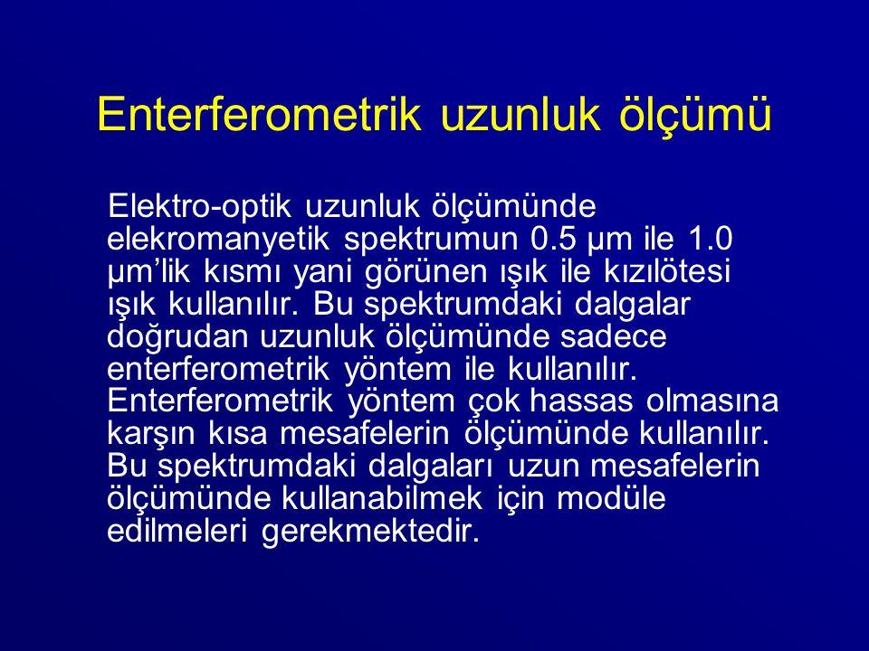 Enterferometrik uzunluk ölçümü Elektro-optik uzunluk ölçümünde elekromanyetik spektrumun 0.5 μm ile 1.0 μm'lik kısmı yani görünen ışık ile kızılötesi