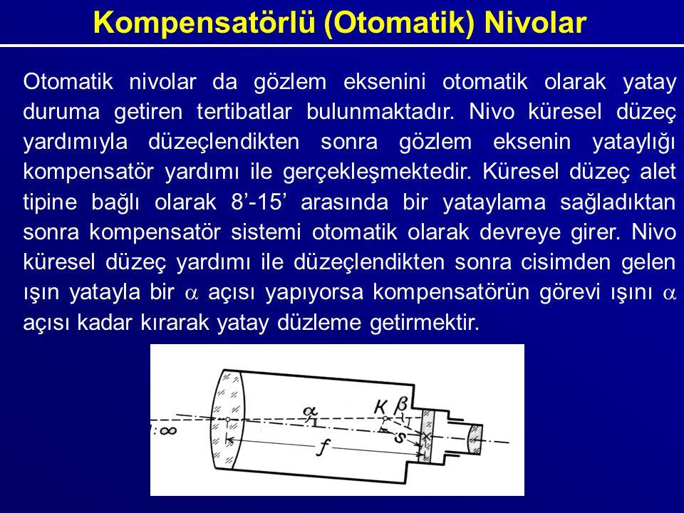 Kompensatörlü (Otomatik) Nivolar Otomatik nivolar da gözlem eksenini otomatik olarak yatay duruma getiren tertibatlar bulunmaktadır. Nivo küresel düze