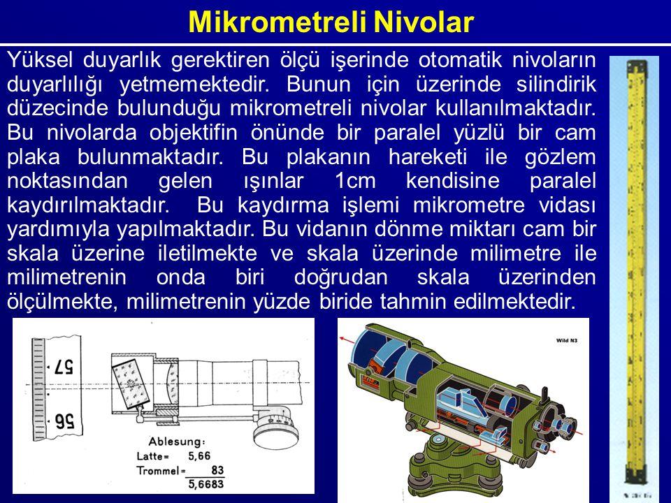 Mikrometreli Nivolar Yüksel duyarlık gerektiren ölçü işerinde otomatik nivoların duyarlılığı yetmemektedir. Bunun için üzerinde silindirik düzecinde b