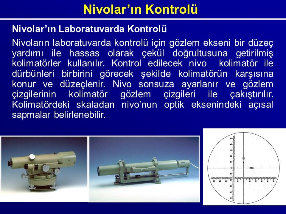 Nivolar'ın Kontrolü Nivolar'ın Laboratuvarda Kontrolü Nivoların laboratuvarda kontrolü için gözlem ekseni bir düzeç yardımı ile hassas olarak çekül do