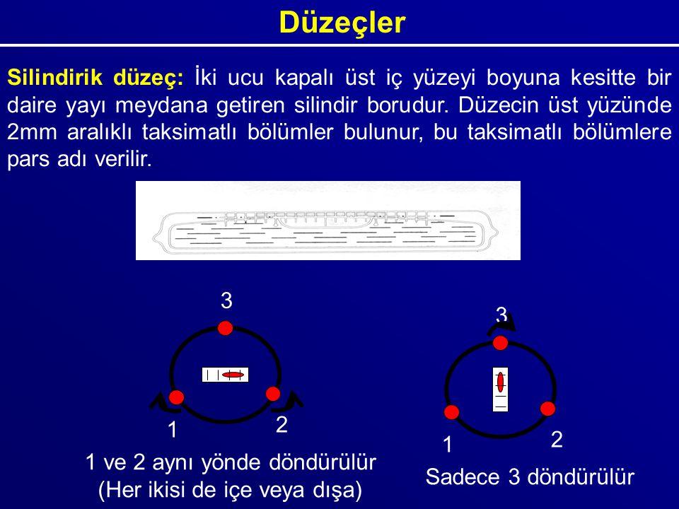 Düzeçler Silindirik düzeç: İki ucu kapalı üst iç yüzeyi boyuna kesitte bir daire yayı meydana getiren silindir borudur. Düzecin üst yüzünde 2mm aralık