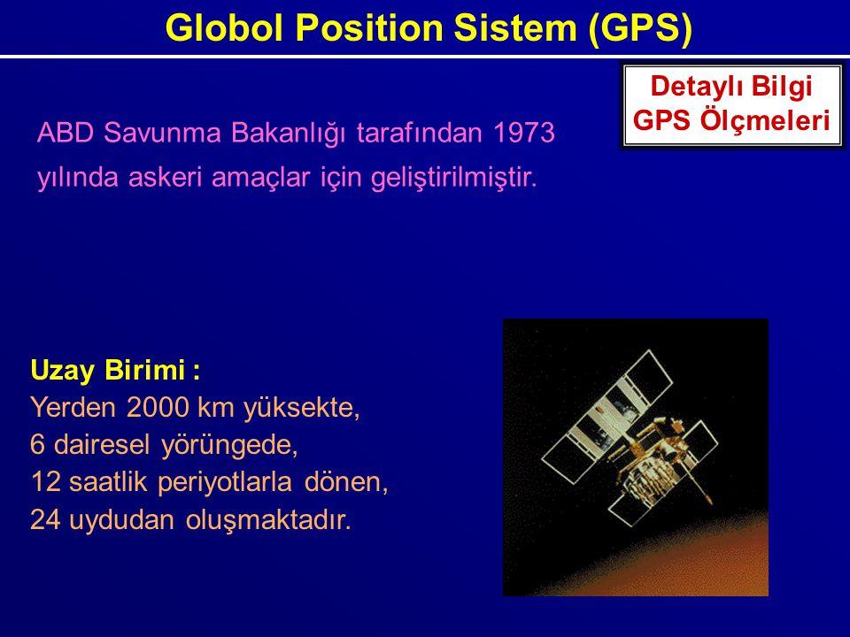 Globol Position Sistem (GPS) Uzay Birimi : Yerden 2000 km yüksekte, 6 dairesel yörüngede, 12 saatlik periyotlarla dönen, 24 uydudan oluşmaktadır. Deta