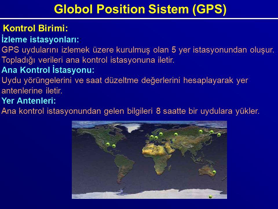Globol Position Sistem (GPS) Kontrol Birimi: İzleme istasyonları:: GPS uydularını izlemek üzere kurulmuş olan 5 yer istasyonundan oluşur. Topladığı ve