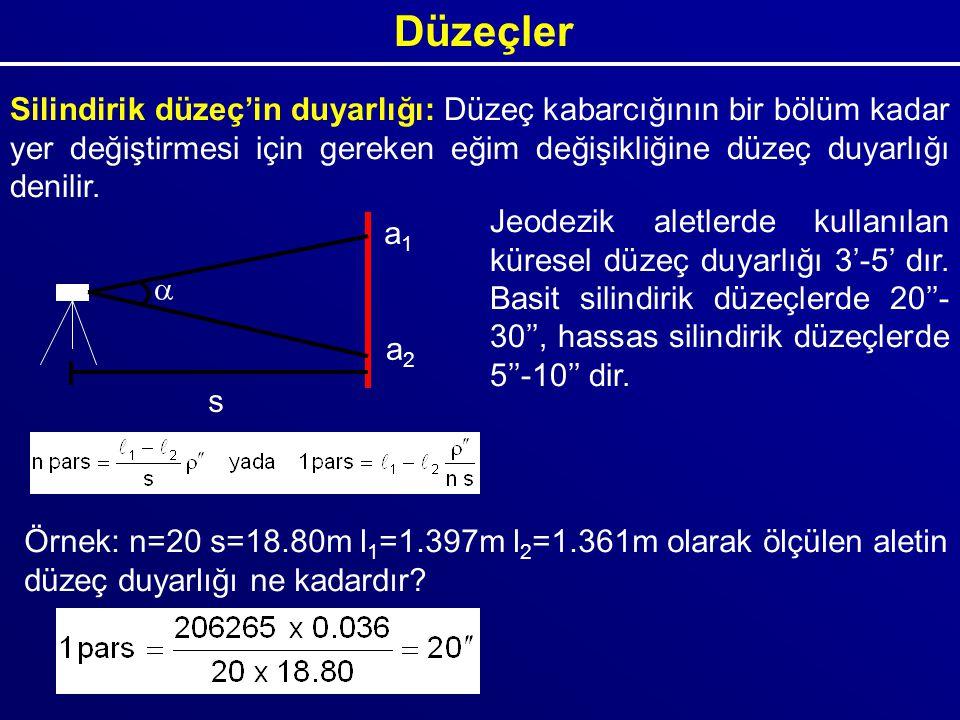 Düzeçler Silindirik düzeç'in duyarlığı: Düzeç kabarcığının bir bölüm kadar yer değiştirmesi için gereken eğim değişikliğine düzeç duyarlığı denilir. s