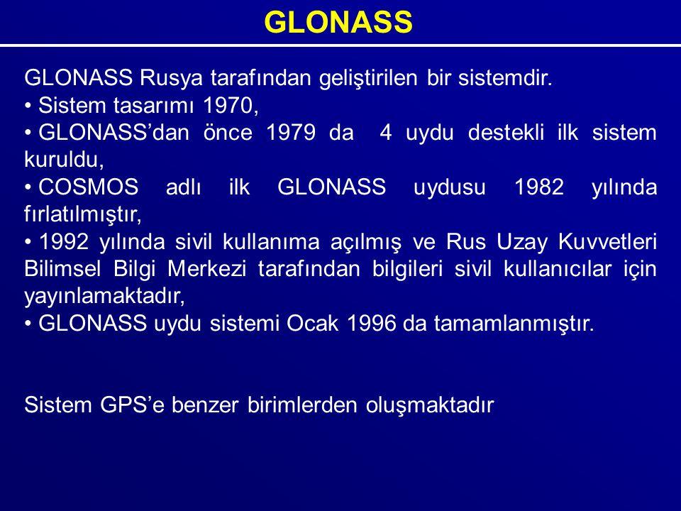 GLONASS GLONASS Rusya tarafından geliştirilen bir sistemdir. Sistem tasarımı 1970, GLONASS'dan önce 1979 da 4 uydu destekli ilk sistem kuruldu, COSMOS