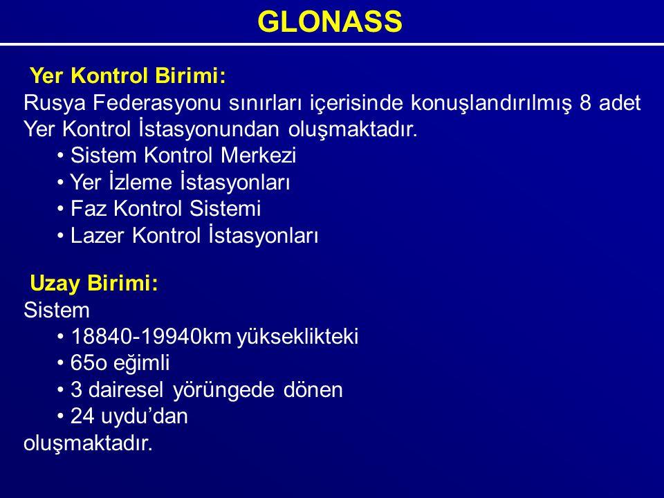 GLONASS Yer Kontrol Birimi: Rusya Federasyonu sınırları içerisinde konuşlandırılmış 8 adet Yer Kontrol İstasyonundan oluşmaktadır. Sistem Kontrol Merk