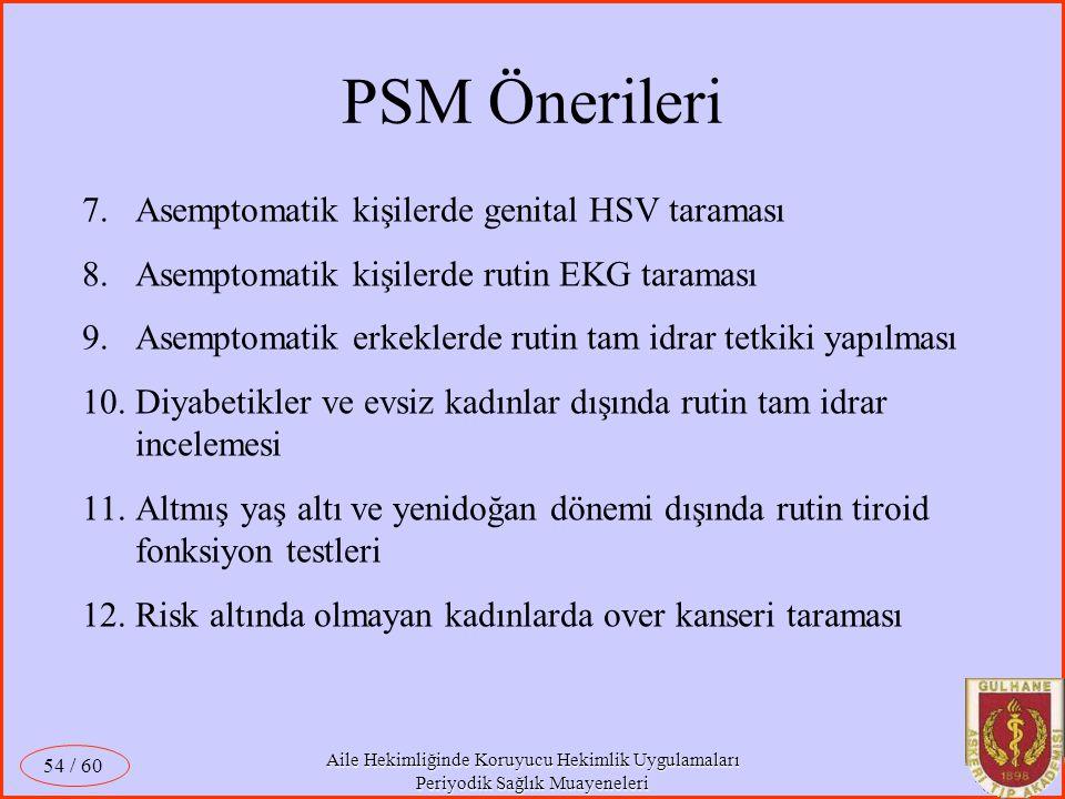 Aile Hekimliğinde Koruyucu Hekimlik Uygulamaları Periyodik Sağlık Muayeneleri / 60 54 7.Asemptomatik kişilerde genital HSV taraması 8.Asemptomatik kiş