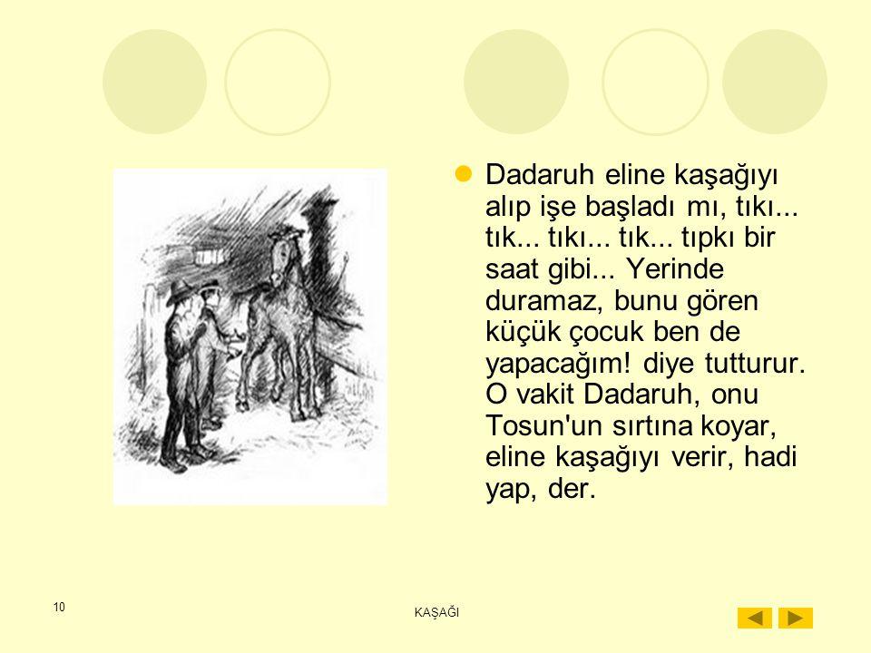 9 KAŞAĞI En sevdikleri şey atlardır. Dadaruh'la birlikte onları suya götürmek, çıplak sırtlarına binmek, onlar için çok zevklidir. Torbalara arpa koym