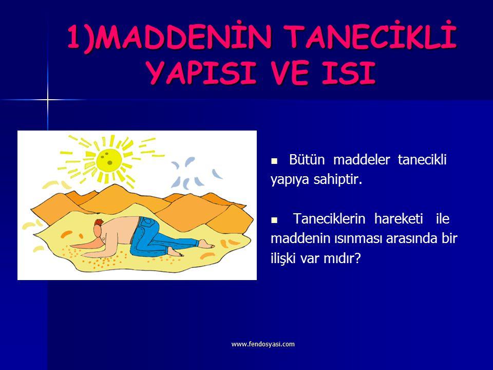 www.fendosyasi.com MADDE VE ISI KONULAR: 1)MADDENİN TANECİKLİ YAPISI VE ISI 2)ISININ YAYILMASI 3)ISI YALITIMI