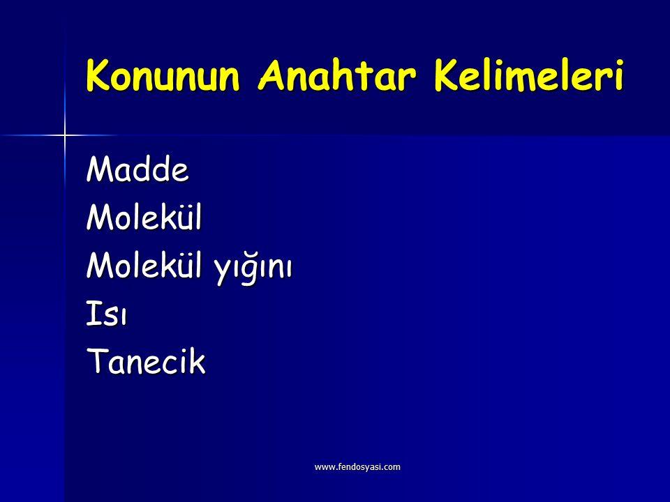 www.fendosyasi.com Konunun Anahtar Kelimeleri MaddeMolekül Molekül yığını IsıTanecik