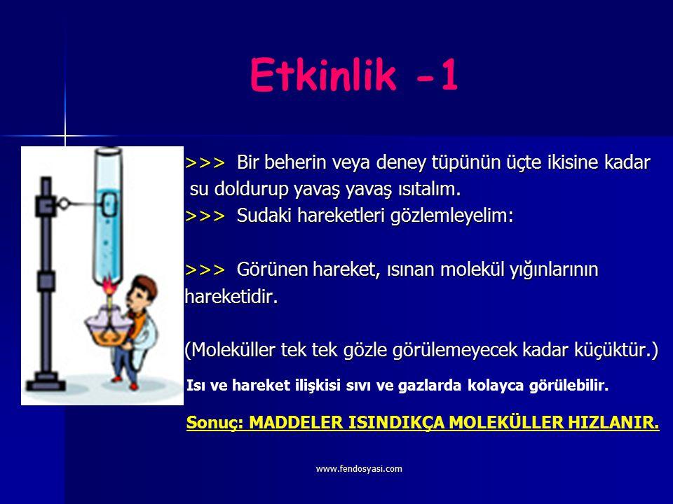 www.fendosyasi.com Etkinlik -1 >>> Bir beherin veya deney tüpünün üçte ikisine kadar su doldurup yavaş yavaş ısıtalım.