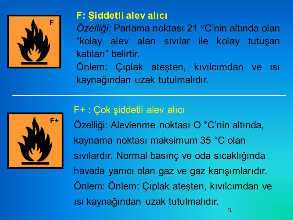 3 F: Şiddetli alev alıcı Özelliği: Parlama noktası 21 °C'nin altında olan kolay alev alan sıvılar ile kolay tutuşan katıları belirtir.