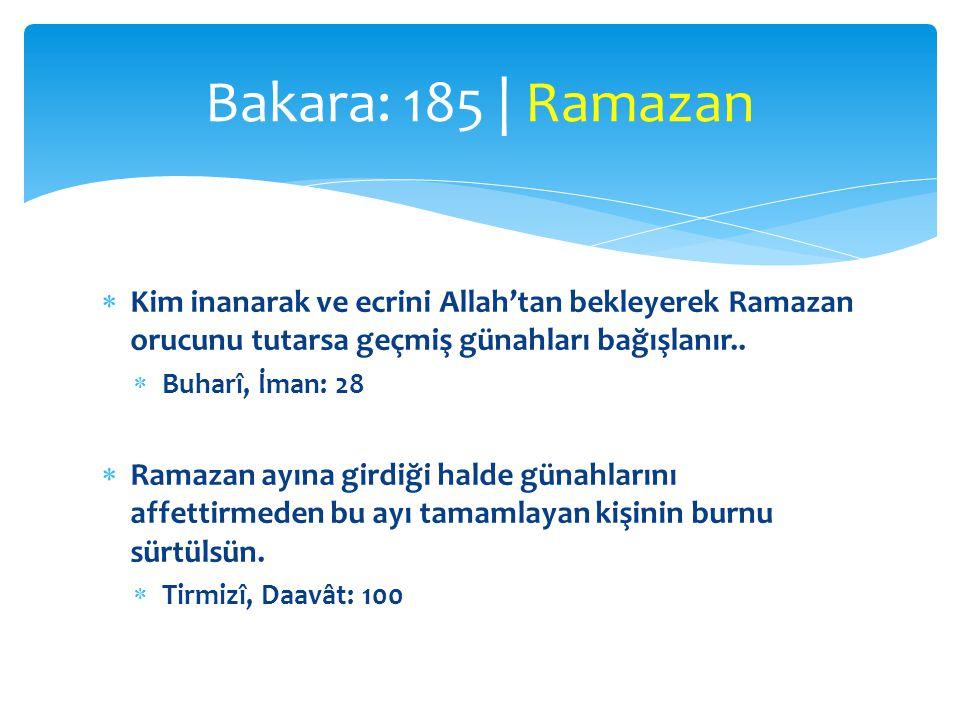  «Kur'ân onda indirildi»  inzal (bir defada)  tenzil değil (peyderpey)  Kur'ân, Hira mağarasında bir Ramazan gününde inmeye başladı  Başka bir yorum:  Dünya semâsına bir defada / oradan peyderpey indirildi Bakara: 185 | Kur'ân ve Ramazan