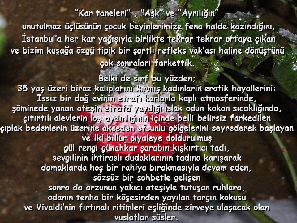 Aslında, Aslında, nadiren yaşadığımız karla kaplı İstanbul gecelerinde nadiren yaşadığımız karla kaplı İstanbul gecelerinde diğerlerine göre şanslı çocuklar, yaşadıkları meserretin çoşkulu çığlıklarıyla kartopu oynarken, diğerlerine göre şanslı çocuklar, yaşadıkları meserretin çoşkulu çığlıklarıyla kartopu oynarken, orta yaşlı olmanın keyfini çıkartmak ve beyaz mutluluğun tadına varmak için orta yaşlı olmanın keyfini çıkartmak ve beyaz mutluluğun tadına varmak için vakur ama yine de dikkatli adımlarla gecenin karanlığında vakur ama yine de dikkatli adımlarla gecenin karanlığında bakir ve beyaz örtünün üzerinde yeni izler bırakır, bakir ve beyaz örtünün üzerinde yeni izler bırakır, malum şairin ölümsüz dizelerini hatırlar malum şairin ölümsüz dizelerini hatırlar ve geçen zamanın sizde bıraktığı izleri düşünürsünüz.