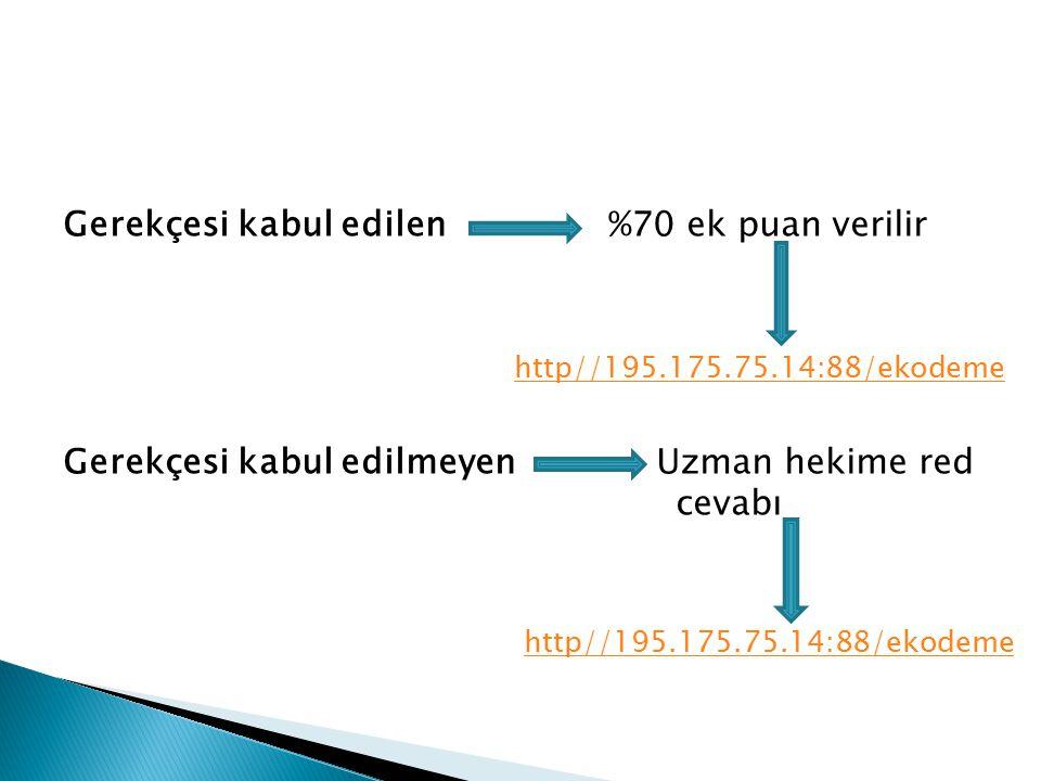 Gerekçesi kabul edilen %70 ek puan verilir http//195.175.75.14:88/ekodeme Gerekçesi kabul edilmeyen Uzman hekime red cevabı http//195.175.75.14:88/eko