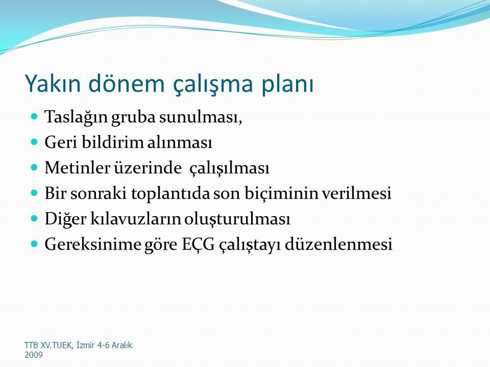 Yakın dönem çalışma planı Taslağın gruba sunulması, Geri bildirim alınması Metinler üzerinde çalışılması Bir sonraki toplantıda son biçiminin verilmesi Diğer kılavuzların oluşturulması Gereksinime göre EÇG çalıştayı düzenlenmesi TTB XV.TUEK, İzmir 4-6 Aralık 2009