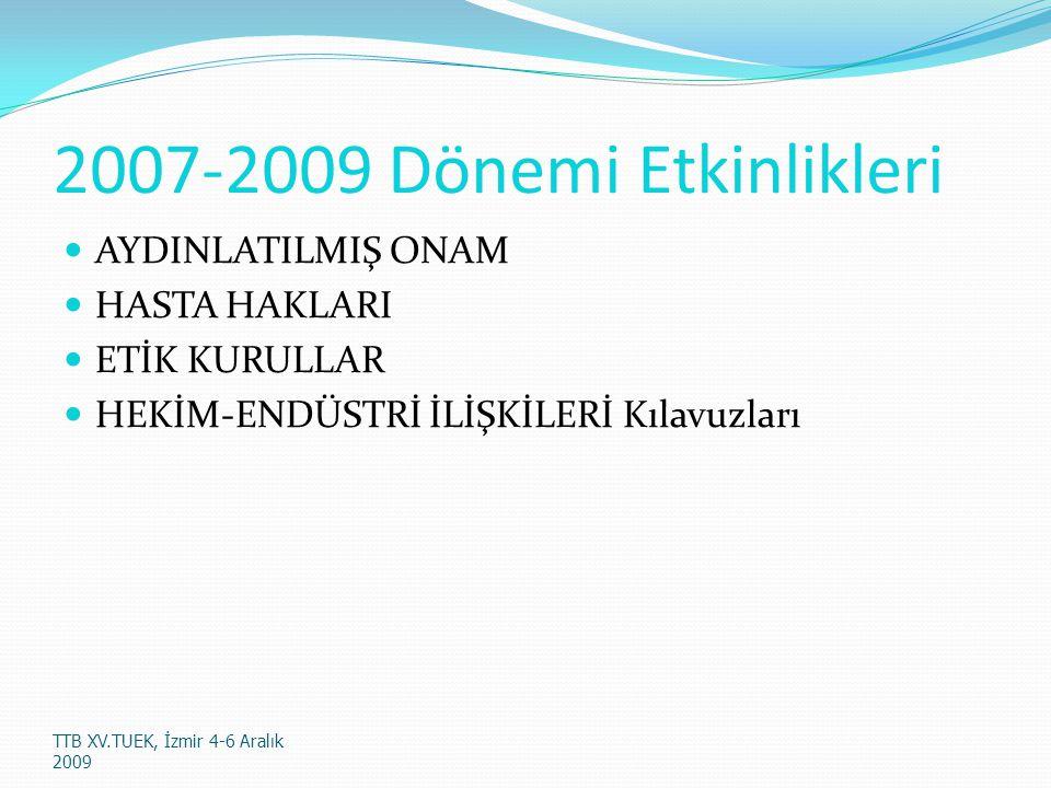2007-2009 Dönemi Etkinlikleri AYDINLATILMIŞ ONAM HASTA HAKLARI ETİK KURULLAR HEKİM-ENDÜSTRİ İLİŞKİLERİ Kılavuzları TTB XV.TUEK, İzmir 4-6 Aralık 2009