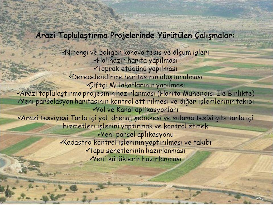 Arazi Toplulaştırma Projelerinde Yürütülen Çalışmalar: Nirengi ve poligon kanava tesis ve ölçüm işleri Halihazır harita yapılması Toprak etüdünü yapıl