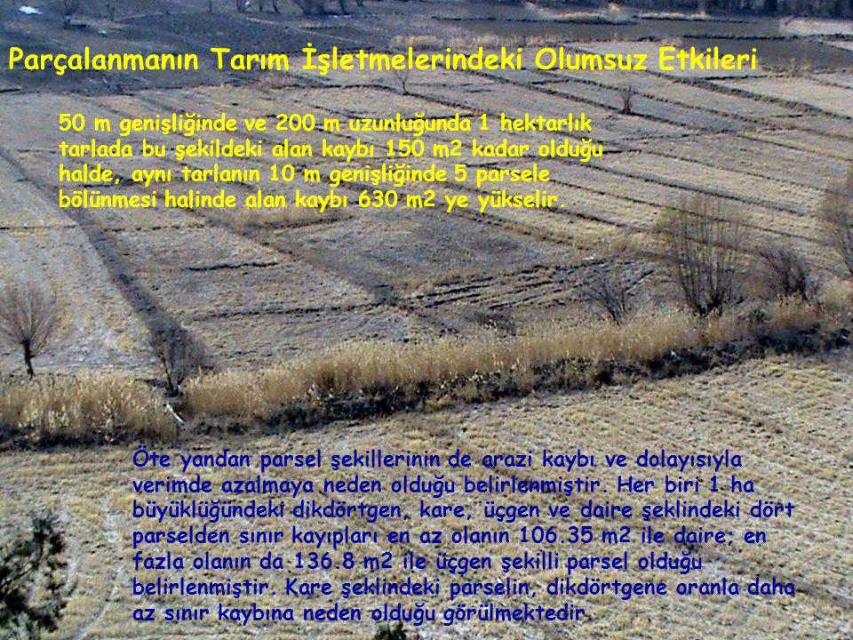 Parçalanmanın Tarım İşletmelerindeki Olumsuz Etkileri 50 m genişliğinde ve 200 m uzunluğunda 1 hektarlık tarlada bu şekildeki alan kaybı 150 m2 kadar
