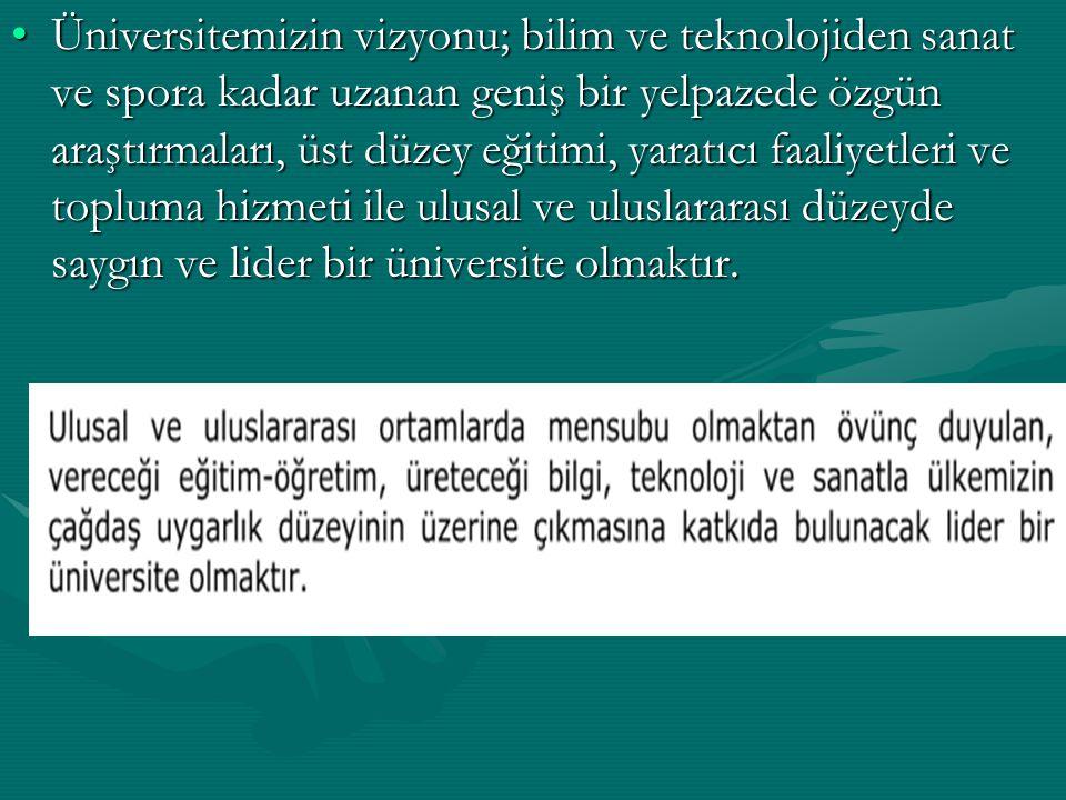 Üniversitemizin vizyonu; bilim ve teknolojiden sanat ve spora kadar uzanan geniş bir yelpazede özgün araştırmaları, üst düzey eğitimi, yaratıcı faaliy