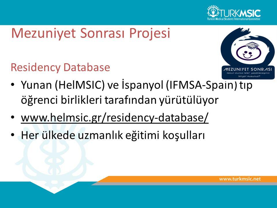 Mezuniyet Sonrası Projesi Residency Database Yunan (HelMSIC) ve İspanyol (IFMSA-Spain) tıp öğrenci birlikleri tarafından yürütülüyor www.helmsic.gr/re