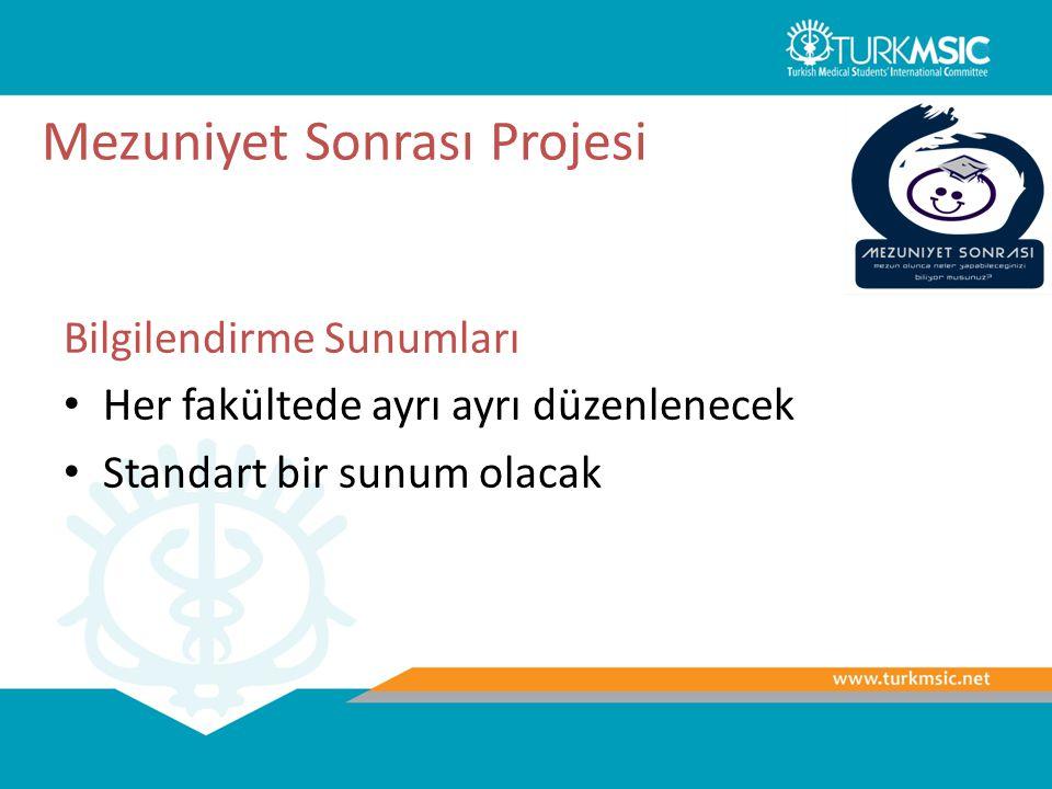 Mezuniyet Sonrası Projesi Bilgilendirme Sunumları Her fakültede ayrı ayrı düzenlenecek Standart bir sunum olacak