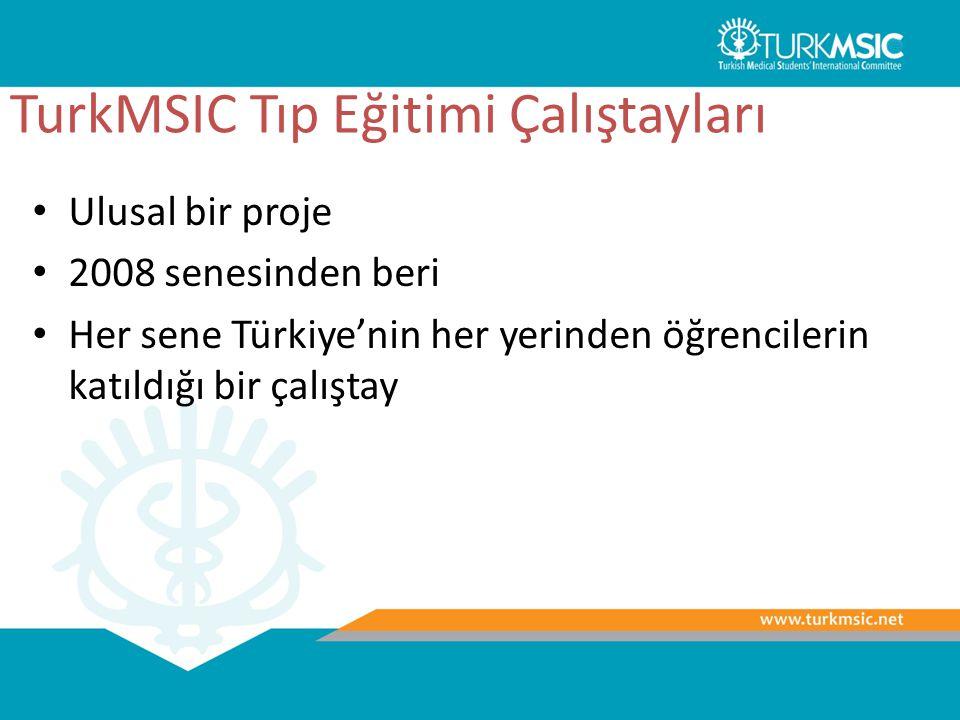 TurkMSIC Tıp Eğitimi Çalıştayları Ulusal bir proje 2008 senesinden beri Her sene Türkiye'nin her yerinden öğrencilerin katıldığı bir çalıştay
