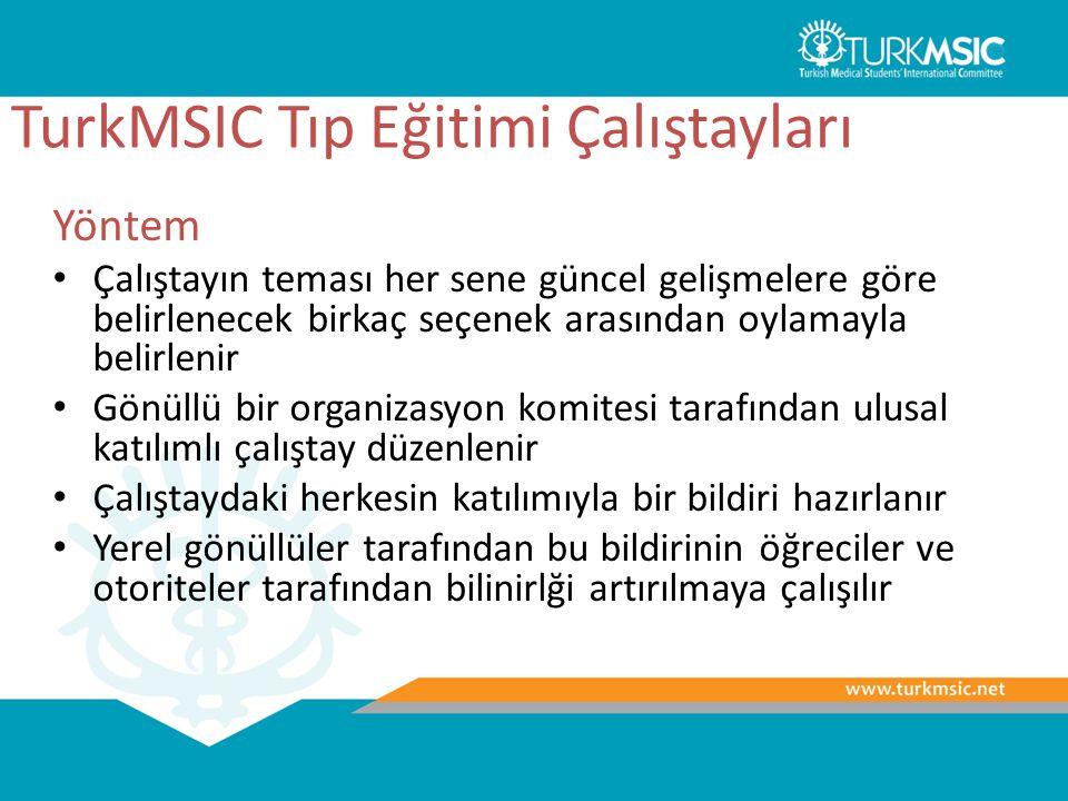 TurkMSIC Tıp Eğitimi Çalıştayları Yöntem Çalıştayın teması her sene güncel gelişmelere göre belirlenecek birkaç seçenek arasından oylamayla belirlenir