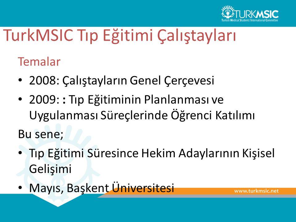 TurkMSIC Tıp Eğitimi Çalıştayları Temalar 2008: Çalıştayların Genel Çerçevesi 2009: : Tıp Eğitiminin Planlanması ve Uygulanması Süreçlerinde Öğrenci K
