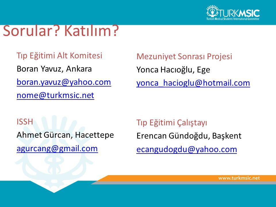 Sorular? Katılım? Tıp Eğitimi Alt Komitesi Boran Yavuz, Ankara boran.yavuz@yahoo.com nome@turkmsic.net ISSH Ahmet Gürcan, Hacettepe agurcang@gmail.com