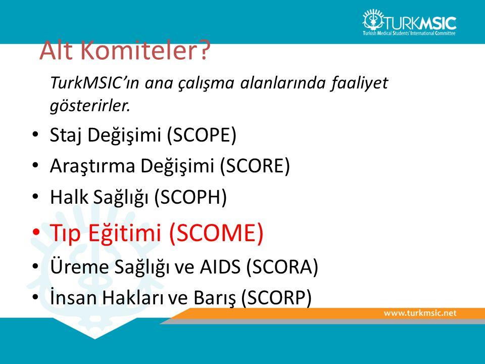 Alt Komiteler? TurkMSIC'ın ana çalışma alanlarında faaliyet gösterirler. Staj Değişimi (SCOPE) Araştırma Değişimi (SCORE) Halk Sağlığı (SCOPH) Tıp Eği