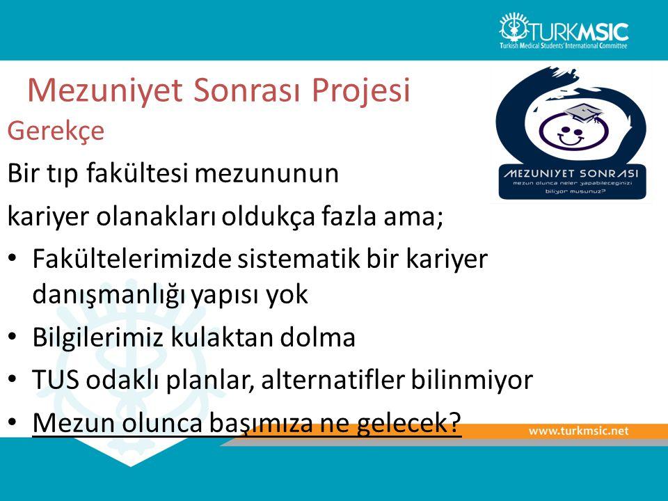 TurkMSIC Tıp Eğitimi Çalıştayları Gerekçe Tıp eğitimi tıp öğrencisinin hayatı için temel bir belirleyici Fakat, tıp öğrencileri bu konuda çok bilgili ve bilinçli değil, insiyatif almıyorlar Bu proje ile tıp öğrencilerinin kendilerinin en temel paydaşlarından biri olduğu tıp eğitimi konusunda bir insiyatif almaları sağlanmaya çalışılıyor