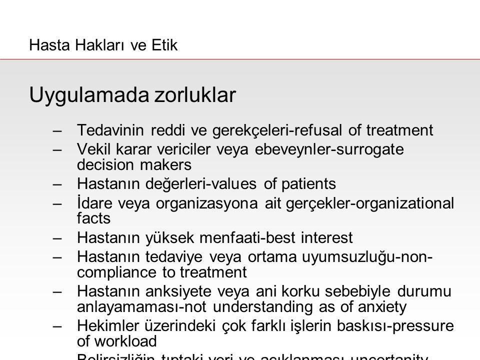 Uygulamada zorluklar –Tedavinin reddi ve gerekçeleri-refusal of treatment –Vekil karar vericiler veya ebeveynler-surrogate decision makers –Hastanın d