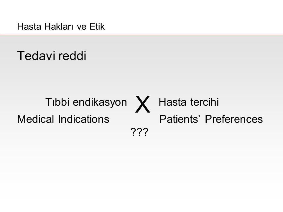 Tedavi reddi Tıbbi endikasyonHasta tercihi Medical Indications Patients' Preferences ??? Hasta Hakları ve Etik X